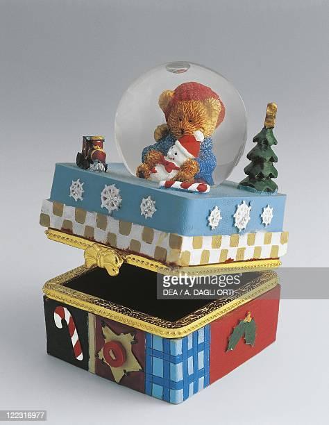 Collecting Snowglobes Christmas Theme Teddy Bear On Box