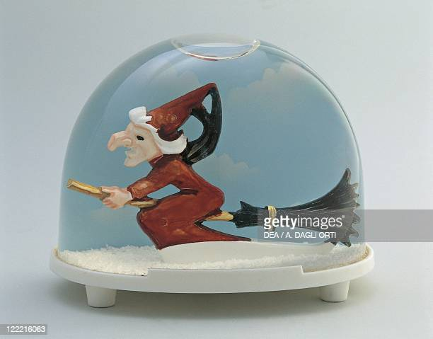 Collecting Snowglobes Witch Flying on Broom Plastic