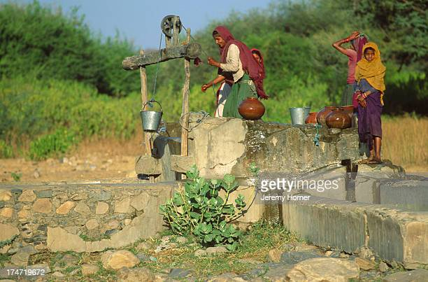 Collecting water from an oasis outside Jaipur Rajasthan The state has an acute water shortage which is now the focus of a major government initiative