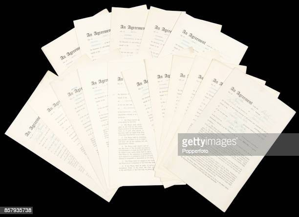 A collection of 24 signed professional playing agreements for Manchester United footballers from the Busby Babes era circa 1954 to 1956 Included are...