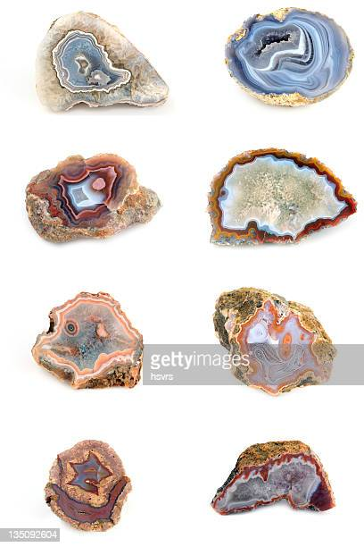 collection of agates with blue inside on white background - agate stock pictures, royalty-free photos & images