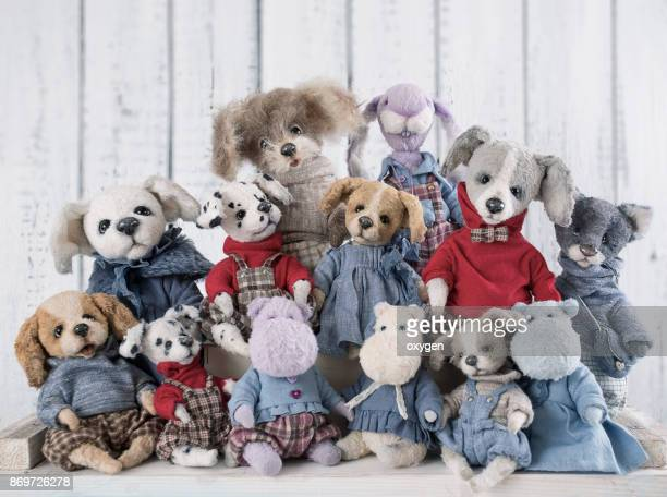 Collection of artistic teddy tos sitting together