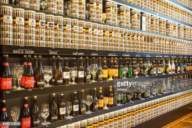 Collection of Belgian beers for sale in souvenir shop in Belgium