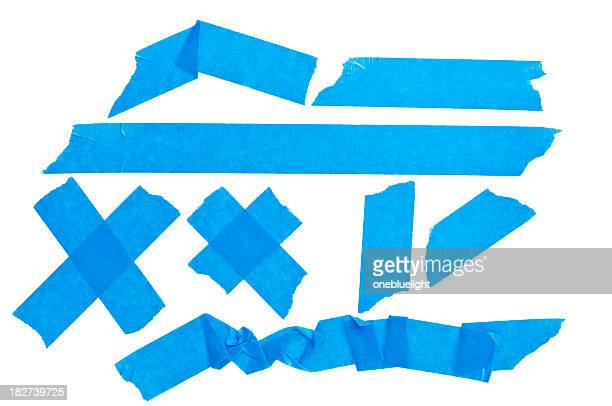 Collection of blue sticky tape isolated on white background