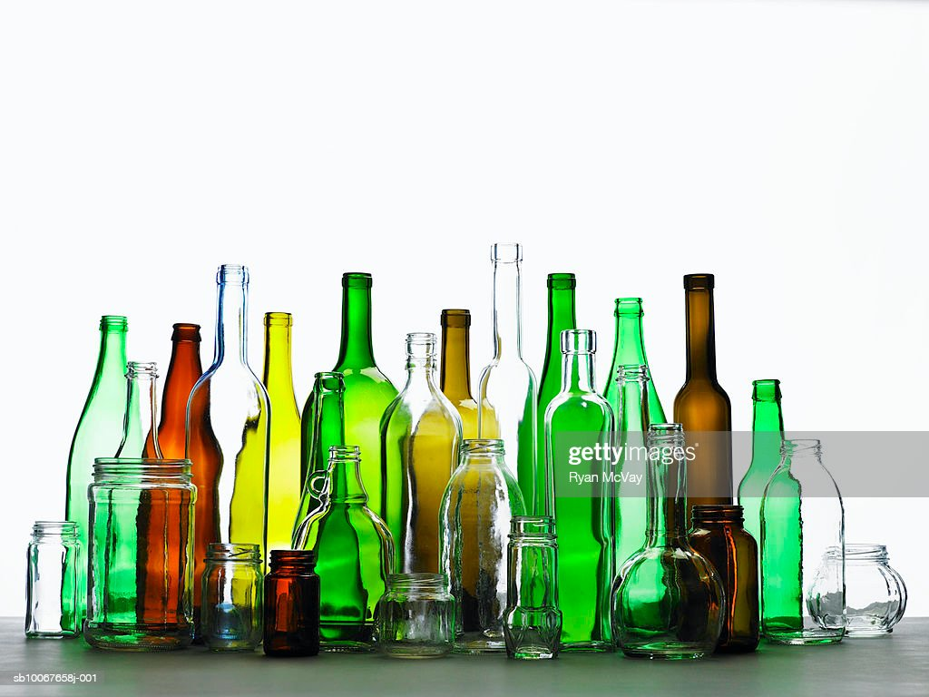 Collection of bottles of various colours : ストックフォト