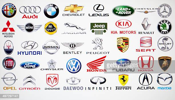 collection of car brand logos - vehicle brand names stock photos and pictures