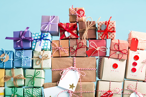 Collection of Christmas present boxes 875268918