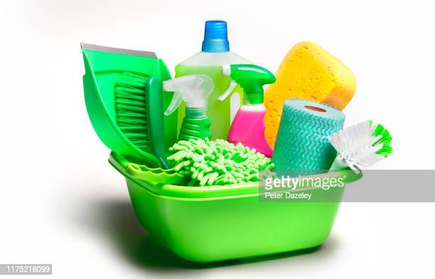 collection of cleaning utensils and products for spring clean - hygiene stock pictures, royalty-free photos & images