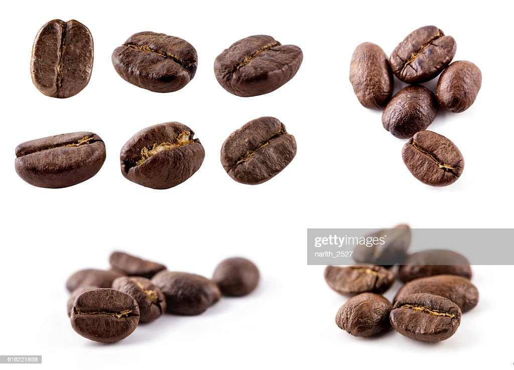 Collection of Coffee beans isolated on white background : Bildbanksbilder
