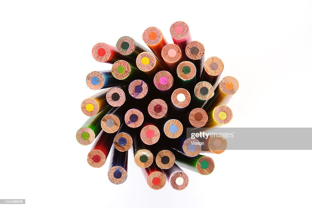 Collection of colouring pencils, Close-up : Foto de stock