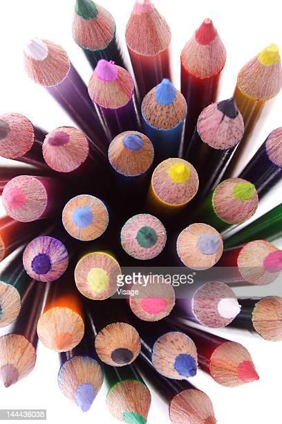 collection of colouring pencils, close-up - colouring bildbanksfoton och bilder