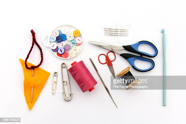 Collection of craft items for sewing