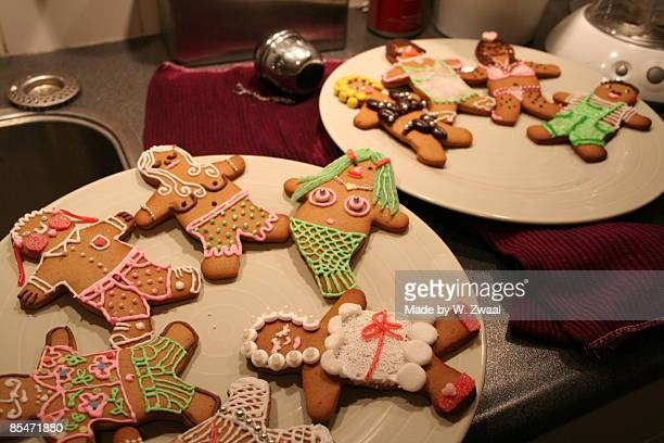 Collection of decorated gingerbread cookies