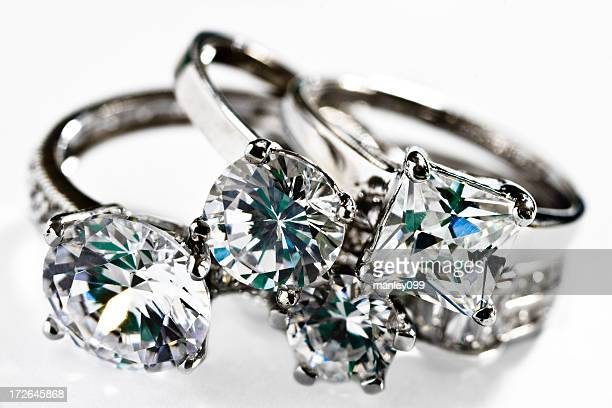 collection of diamond platinum rings