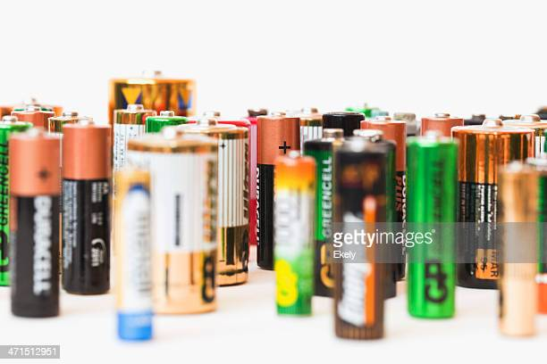 collection of different battery brands - duracell stock pictures, royalty-free photos & images