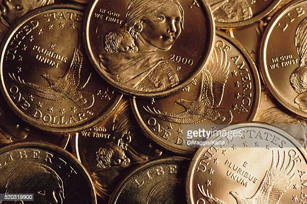 collection of dollar coins - sacagawea stock pictures, royalty-free photos & images