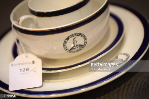 A collection of Dunn Bennett bone china from the ward room of the Terra Nova expedition ship is displayed at Bonhams auctioneers on March 22 2012 in...
