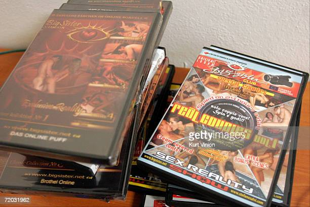 A collection of DVDs lie on a desk at Big Sister on September 8 2006 in Prague Czech Republic The World's first online brothel 'Big Sister' opened on...
