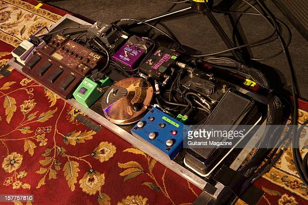 A collection of electric guitar effects pedals used by Joe Bonamassa photographed during a shoot for Guitarist Magazine March 30 2012