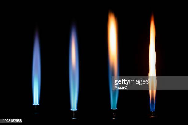 a collection of flames from bunsen burner - bunsen burner stock pictures, royalty-free photos & images