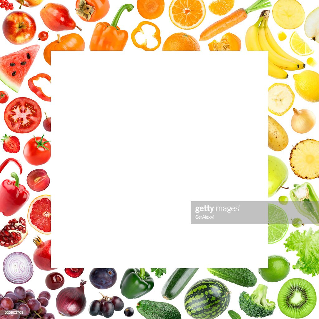 Collection of fruits and vegetables : Stock Photo