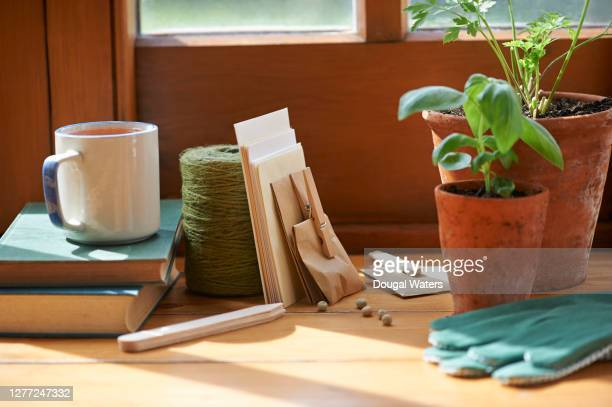 a collection of gardener's items. - book stock pictures, royalty-free photos & images