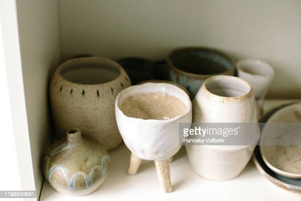 collection of handmade ceramic objects - mixed media stock pictures, royalty-free photos & images