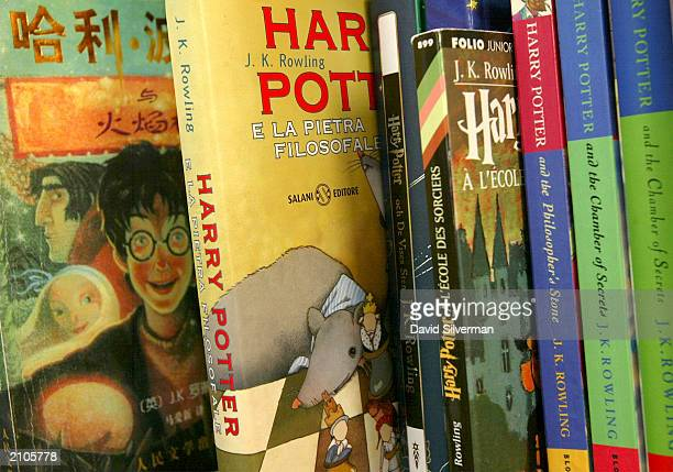 A collection of Harry Potter book translations line a shelf in Gili BarHillel's office June 23 2003 in Tel Aviv BarHillel's has translated all four...