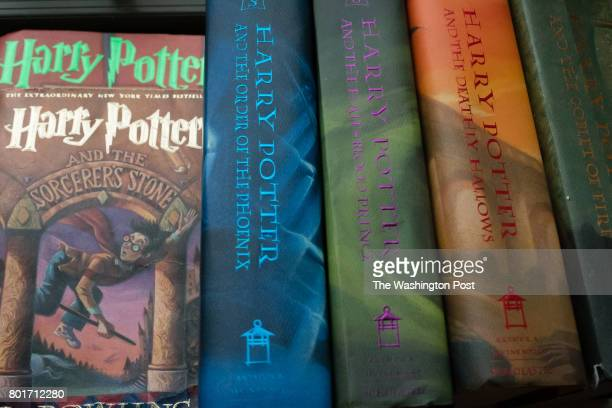 A collection of Harry Potter books are pictured at the home of Caitlin Moore in Washington DC