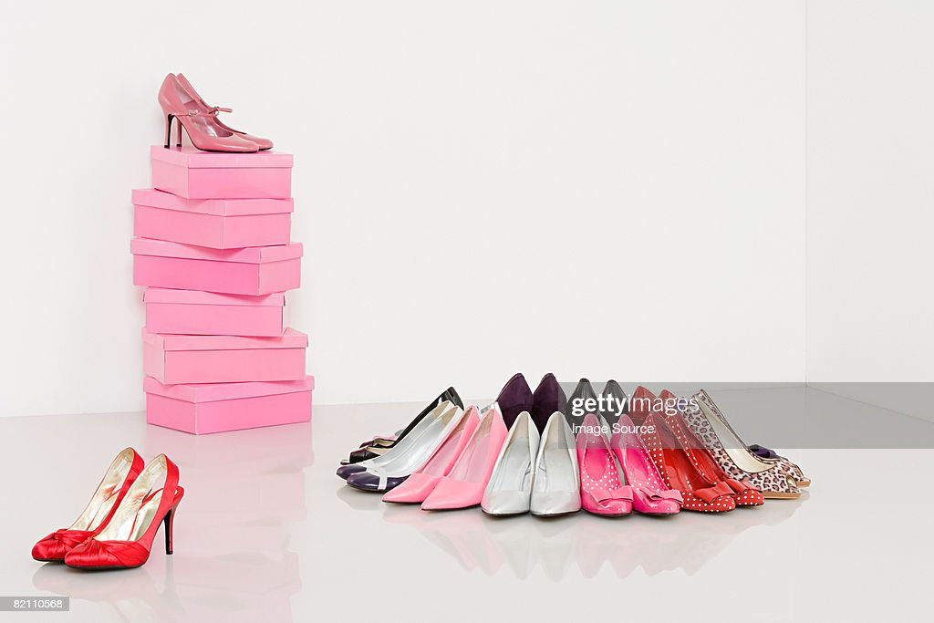 Collection of high heeled shoes : Stock Photo