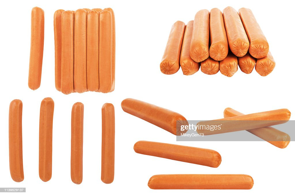 Collection of hot dog sausages isolated on a white. : Stock Photo