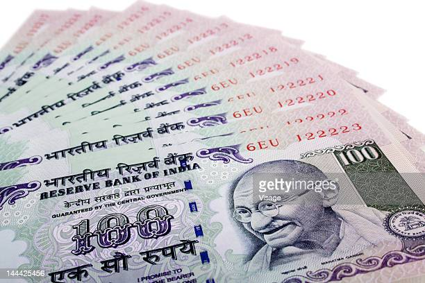 A collection of Indian One hundred Rupees