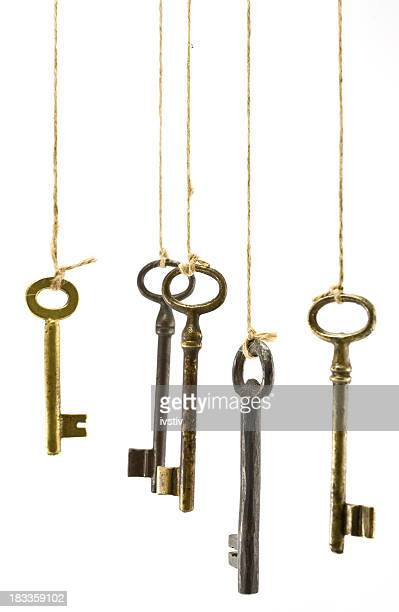 A collection of keys hanging on strings