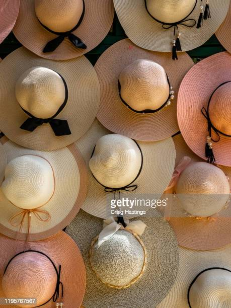 a collection of ladies summer hats. luxury high society summer fashionable display of hats and headwear - monte carlo stockfoto's en -beelden