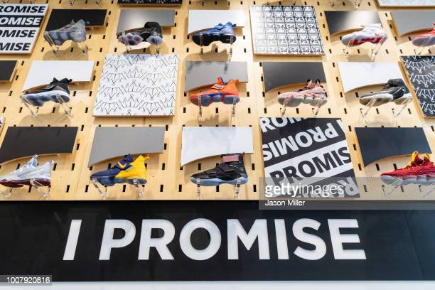 A collection of LeBron James shoes decorate the entrance to the I Promise School on July 30 2018 in Akron Ohio The School is a partnership between...