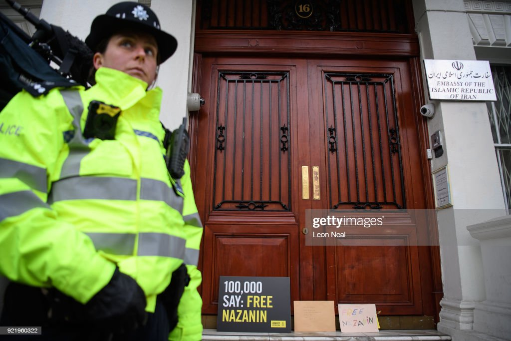 A collection of letters and posters calling for the release of jailed UK-Iranian woman Nazanin Zaghari-Ratcliffe are seen on the doorstep of the Iranian Embassy on February 21, 2018 in London, England. Her husband, Richard Ratcliffe had spoken to the press before attempting to deliver the letters ahead of a visit by Abbas Araghchi, Deputy for Legal and International Affairs in Iran's Foreign Ministry.