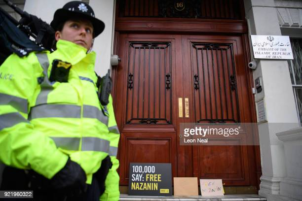 Collection of letters and posters calling for the release of jailed UK-Iranian woman Nazanin Zaghari-Ratcliffe are seen on the doorstep of the...