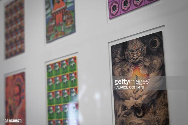 "Collection of LSD blotting paper is shown during an exhibition entitled ""LSD, the 75 Years of a Problem Child"" at the Swiss National Library on..."