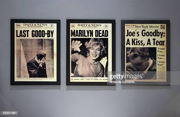A collection of Marilyn Monroe memorabilia is displayed at the Hollywood Museum on August 5 2005 in Hollywood California A group of Monroe's friends...