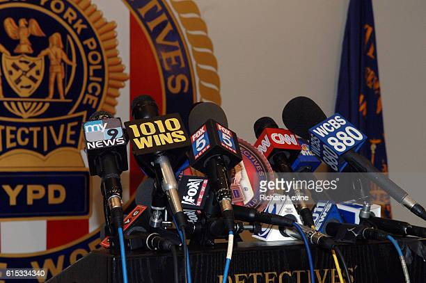 Collection of microphones at a news conference in New York on March 19 2007 CBS announced it will sell its radio business which in the New York...