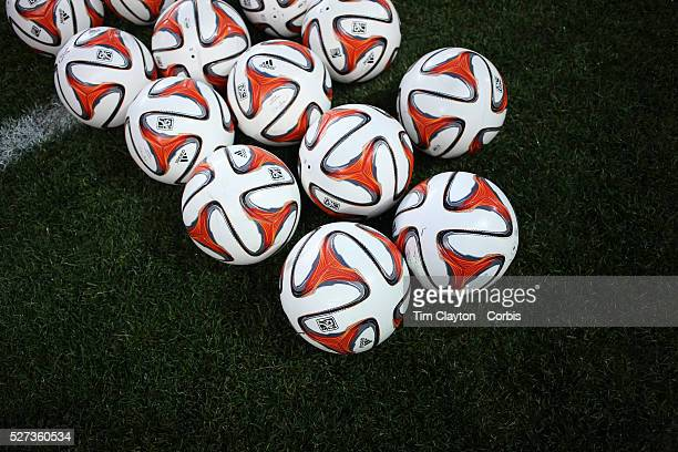 Collection of MSL Brazuca balls on the side of the pitch before warm up at the New York Red Bulls Vs Toronto FC, Major League Soccer regular season...