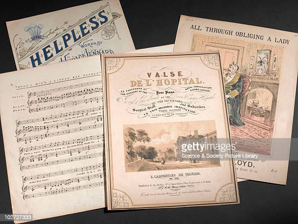 Collection of music covers England 1800s Music covers collections with medical themes 'Valse de l'hopital' by ECarpentier de Selvier 'All Through...