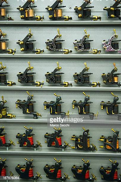 A collection of needle tattoo machines is seen during the first day of the Rome International Tattoo Expo on May 3 2013 in Rome Italy The Rome...