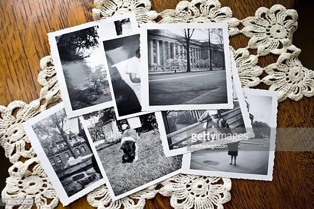 collection of old black and white photographs - souvenir stock pictures, royalty-free photos & images