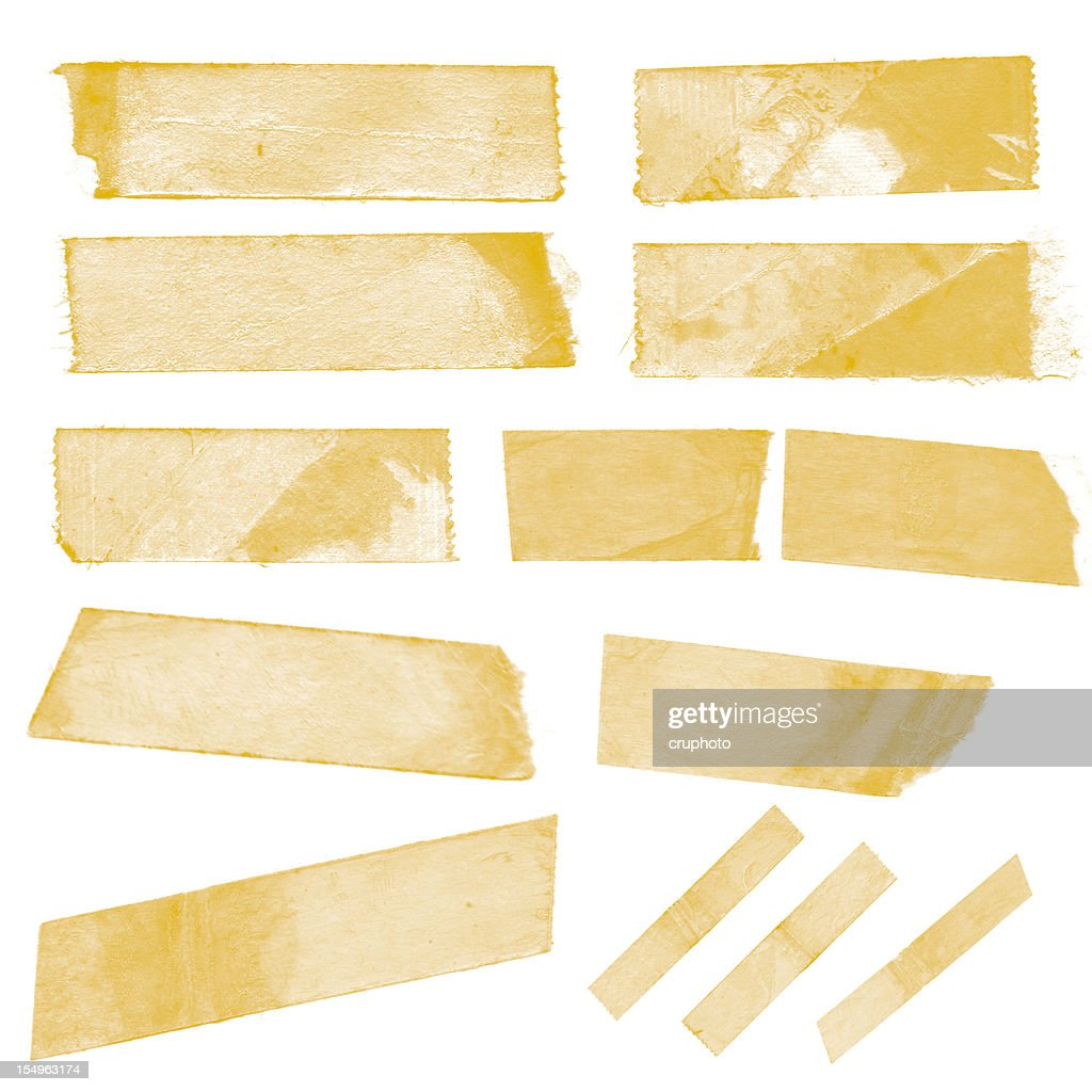 Collection of old sticky tape on a white background : Stock Photo