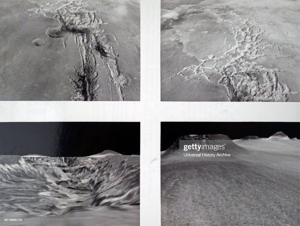 Collection of photographs taken of the planet Mars. (top row: left to right) A west-looking view from 125 miles above the surface showing a canyon system. Labyrinthus Noctis, an intricate system of interwoven canyons. (bottom row: left to right) A view from the Northern part of Valles Marineris. In the distance, about 1,900 miles away are the volcanoes Pavonis Mons (left) and Ascraeus Mons (right). A northern view of Tharsis Montes, a series of giant volcanoes. Dated 20th century.