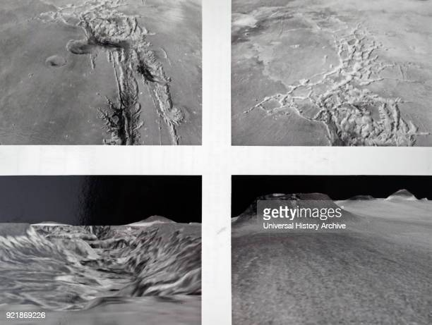 Collection of photographs taken of the planet Mars A westlooking view from 125 miles above the surface showing a canyon system Labyrinthus Noctis an...