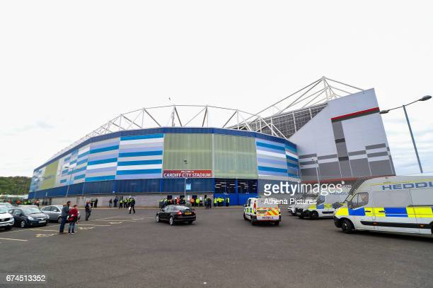 A collection of police vehicles line the perimeter of the Away Supporters area prior to the arrival of the Newcastle United fans before kick off of...