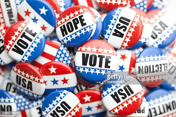 collection of political pins stacked - democratic party stock pictures, royalty-free photos & images