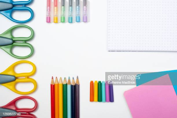 a collection of rainbow coloured school supplies on a white background - pen stock pictures, royalty-free photos & images